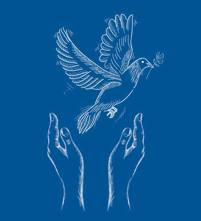 nonviolent: Sketch style human hands with peace symbol dove illustration over blue background