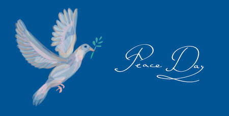 nonviolent: Sketch style peace and love composition symbol and dove bird over blue background