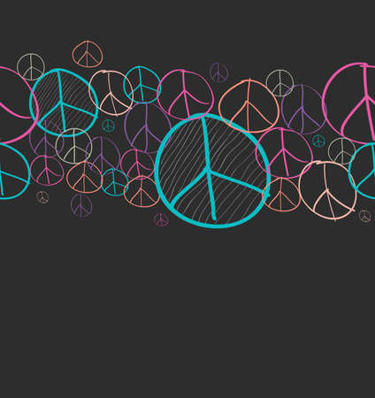 nonviolent: Colorful sketch style peace symbol seamless pattern background Illustration