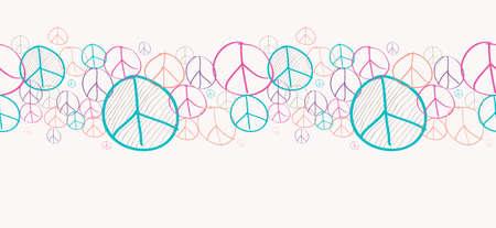 nonviolent: Sketch style peace symbols seamless pattern background