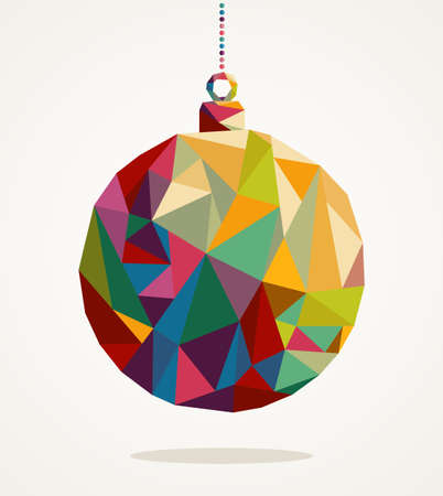 christmas baubles of modern design: Merry Christmas trendy circle bauble made with colorful triangles composition