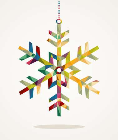 Vrolijk kerstfeest trendy sneeuwvlok gemaakt met kleurrijke driehoekjes samenstelling Stock Illustratie