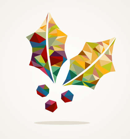 Vrolijk kerstfeest trendy maretak gemaakt met kleurrijke driehoekjes samenstelling