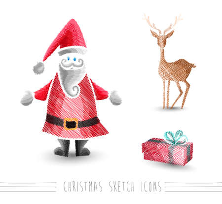 Merry Christmas hand drawn Santa Claus and winter elements set Vector