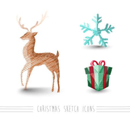 renos de navidad: Merry Christmas mano dibujada renos y elementos del invierno fijados Vectores
