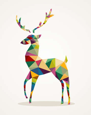 Isolated Merry Christmas colorful abstract reindeer with geometric composition