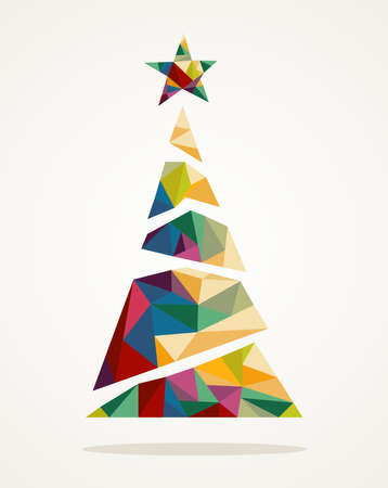 christmas backdrop: Isolated Merry Christmas colorful abstract tree, decoration star with geometric composition