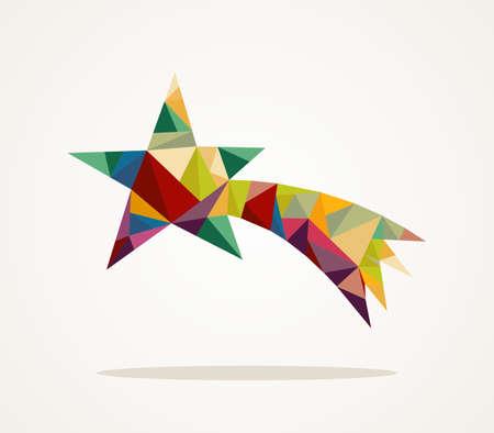 Geïsoleerde Vrolijk Kerstfeest kleurrijke abstracte vallende ster met geometrische compositie
