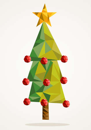 Isolated Merry Christmas colorful bauble tree and star, geometric composition Vector