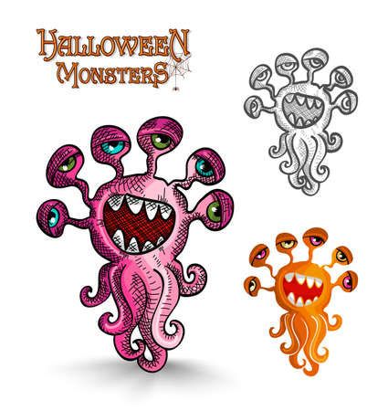 Halloween monsters scary weird eyes squid set. EPS10 Vector file organized in layers for easy editing. Vector