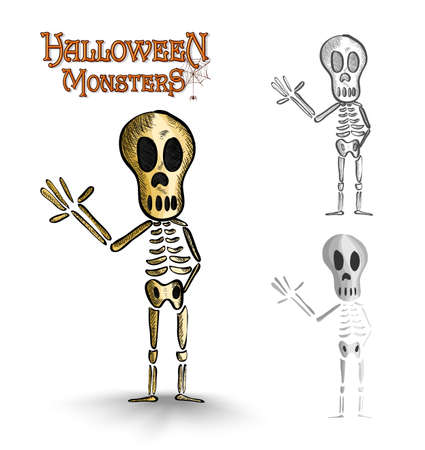 basic candy: Halloween monsters scary human skeletons set. EPS10 Vector file organized in layers for easy editing.