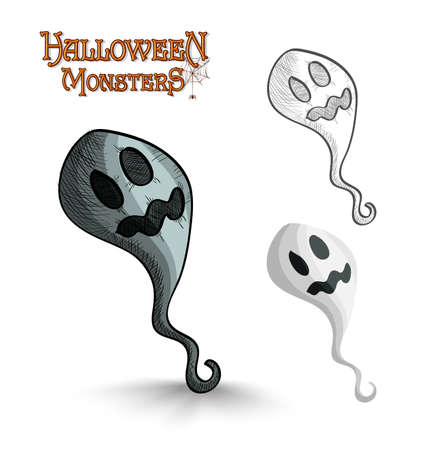 basic candy: Halloween monsters spooky cartoon ghost set. EPS10 Vector file organized in layers for easy editing.