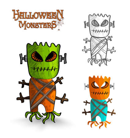 october 31: Halloween monsters spooky scary mask trunk freak set. EPS10 Vector file organized in layers for easy editing.