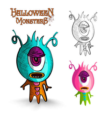 october 31: Halloween monsters spooky one eye freak set. EPS10 Vector file organized in layers for easy editing. Illustration