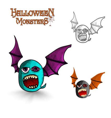 Halloween monsters spooky creature bat  set. EPS10 Vector file organized in layers for easy editing. Vector