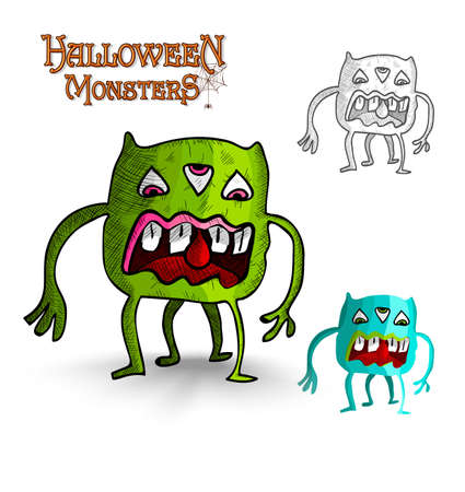 basic candy: Halloween monsters scary looking eyes creature set. EPS10 Vector file organized in layers for easy editing. Illustration