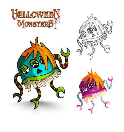 freak: Halloween monsters spooky cartoon weird freak set. EPS10 Vector file organized in layers for easy editing.