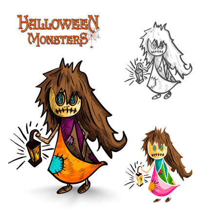Halloween monsters spooky cartoon dirty witch set. EPS10 Vector file organized in layers for easy editing. Vector