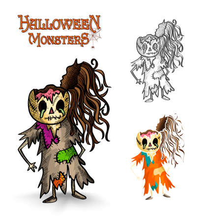 Halloween monsters spooky cartoon rotten zombies set. EPS10 Vector file organized in layers for easy editing. Vector