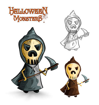 Halloween monsters spooky cartoon grim reaper set. EPS10 Vector file organized in layers for easy editing. Vector