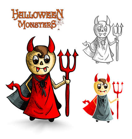 Halloween monsters spooky cartoon devil men set. EPS10 Vector file organized in layers for easy editing. Vector