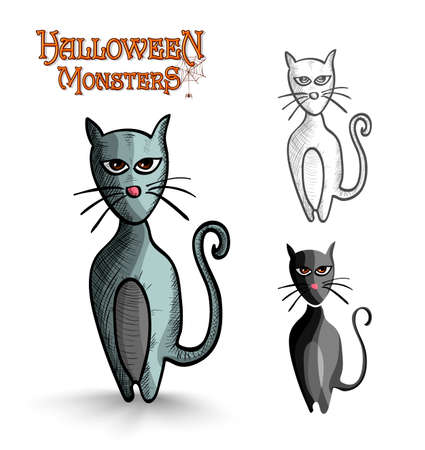 basic candy: Halloween monsters spooky cartoon black cats set. EPS10 Vector file organized in layers for easy editing. Illustration