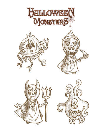 basic candy: Halloween monsters spooky sketch style creatures cartoons set. EPS10 Vector file organized in layers for easy editing.