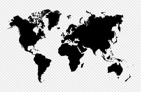Black silhouette isolated World map. EPS10 vector file organized in layers for easy editing. Illustration
