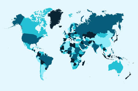 World map, blue countries Atlas illustration. EPS10 vector file organized in layers for easy editing.
