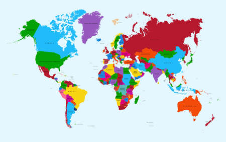 Wereldkaart, kleurrijke landen met tekst Atlas illustratie. EPS10 vector bestand georganiseerd in lagen voor eenvoudige bewerking.