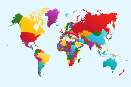 World map, colorful countries Atlas illustration. EPS10 vector file organized in layers for easy editing. Çizim