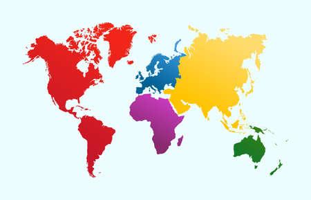 世界地図、カラフルな大陸アトラス イラスト。EPS10 ベクトル ファイルは簡単に編集用の layersa で開催。