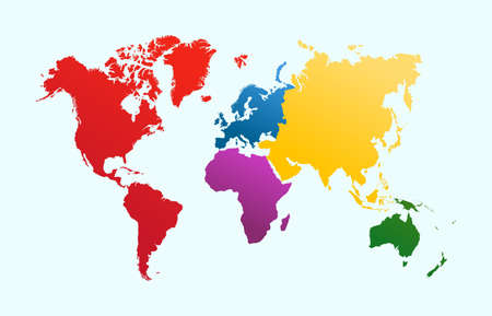 World map, colorful continents Atlas illustration. EPS10 vector file organized in layersa for easy editing. Imagens - 22692129