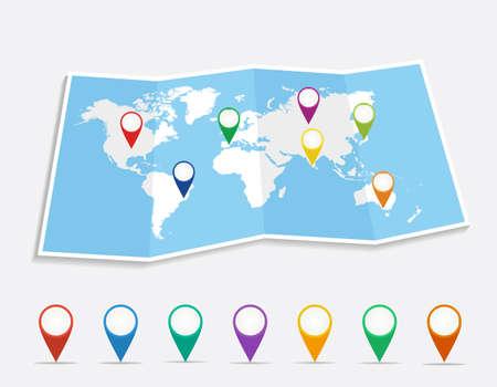 mapa: Mapa del mundo con geo posición pins viajes elementos de composición. EPS10 archivo vectorial organizado en capas para facilitar la edición. Vectores