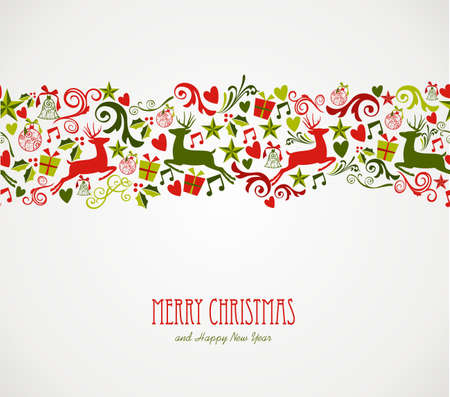 Merry Christmas decorations elements seamless pattern border. Vector file organized in layers for easy editing.  Ilustrace