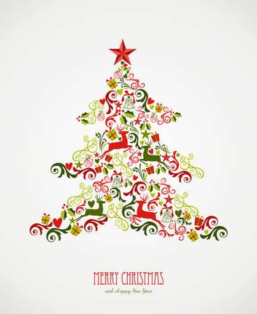 メリー クリスマス ツリーの装飾の構成要素。ベクター ファイル簡単に編集用レイヤーに整理します。