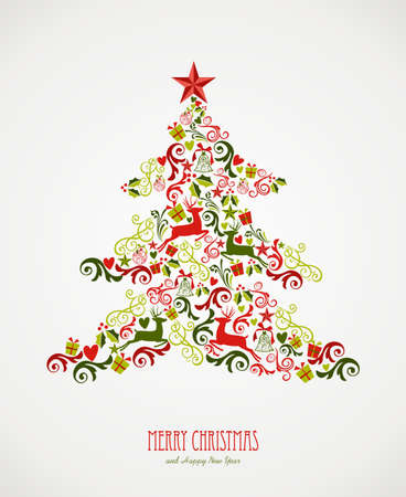 Merry Christmas tree decoration elements composition. Vector file organized in layers for easy editing. Illustration