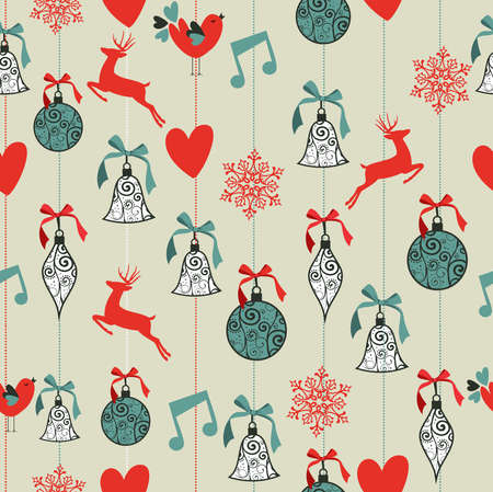 seamless pattern background: Merry Christmas decoration Rentiere und Farbband kugeln nahtlose Muster Hintergrund. Vector-Datei in Schichten f�r die einfache Bearbeitung organisiert.