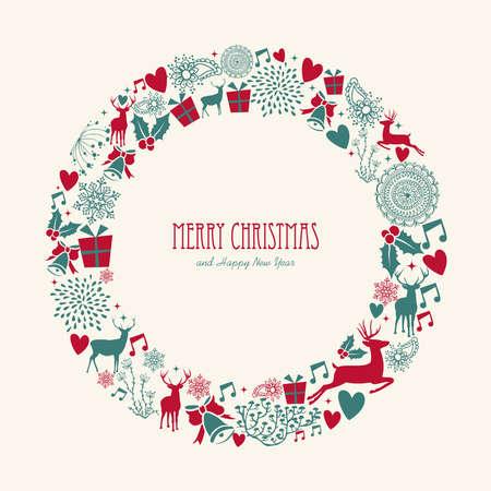 Vrolijk kerstfeest decoratie-elementen omcirkelen maretak samenstelling. Vector dossier georganiseerd in lagen voor eenvoudige bewerking. Stock Illustratie