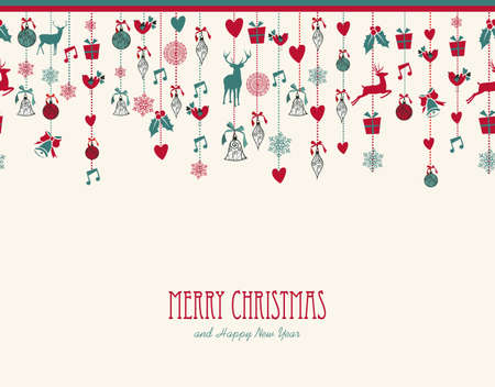 Merry Christmas hanging decoration elements baubles composition. Vector file organized in layers for easy editing. Vector