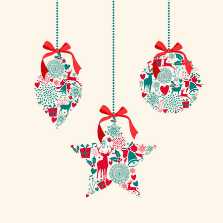 doves: Merry Christmas hanging baubles decoration elements composition. Vector file organized in layers for easy editing.