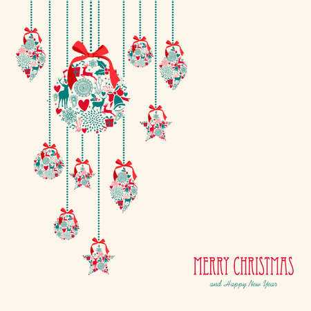 Merry Christmas hanging decoration elements baubles composition. Vector file organized in layers for easy editing.
