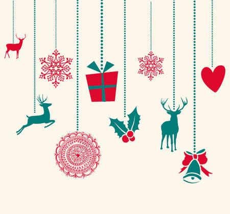 Feliz Navidad colgando adornos de renos elementos de decoración. Vector archivo organizado en capas para facilitar la edición. Foto de archivo - 22755960