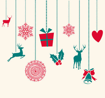 modern: Merry Christmas hanging reindeer baubles decoration elements. Vector file organized in layers for easy editing.