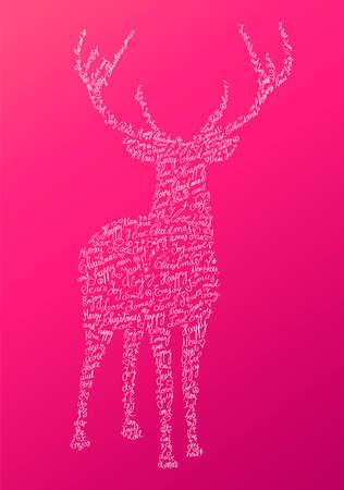 renos de navidad: Forma renos inconformista de moda con el texto de vacaciones y fondo rosado. Feliz Navidad composición. archivo organizado en capas para facilitar la edición. Vectores
