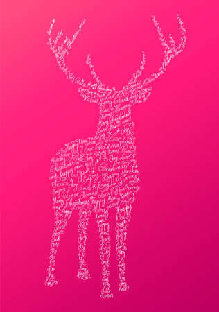 Trendy hipster reindeer shape with holiday text and pink background. Merry Christmas composition. file organized in layers for easy editing.