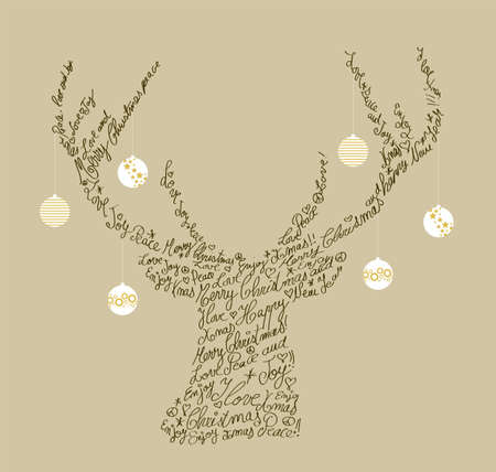 Trendy hipster reindeer shape with holiday text and baubles. Merry Christmas composition.organized in layers for easy editing. Vector