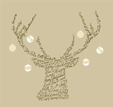 wesolych swiat: Trendy kształt reniferów hipster z tekstem wypoczynkowego i bombki. Merry Christmas composition.organized w warstwach dla łatwej edycji.