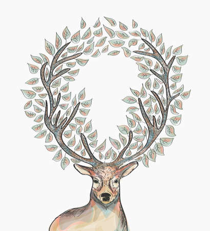 Trendy hipster reindeer with circle leaves Merry Christmas composition.  file with transparency for easy editing.