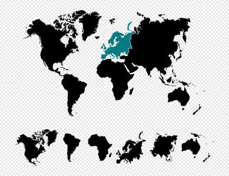 Black silhouette isolated World map focused in europe and other continents.  file organized in layers for easy editing. Illustration